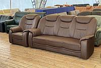 Кожаный комплект диванов б/у из Германии без реставрации
