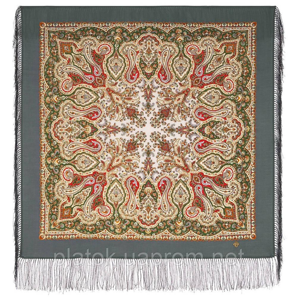 Северное лето 1923-2, павлопосадский платок шерстяной с шелковой бахромой