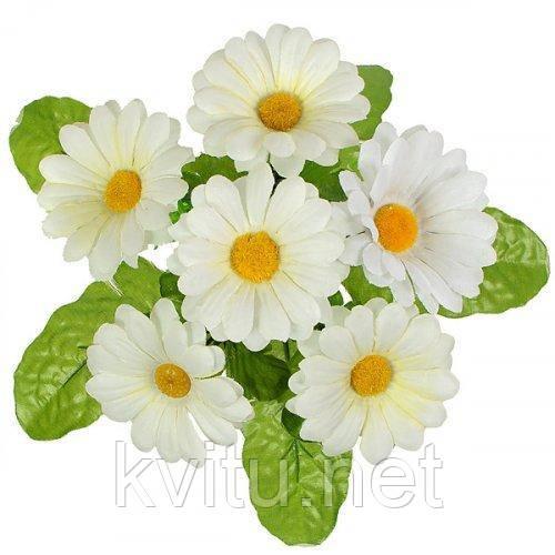 Искусственные цветы букет ромашки на подкустнике, 24см