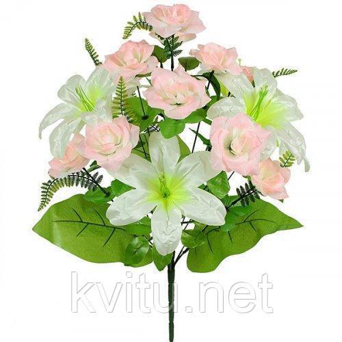 Искусственные цветы букет роз с лилией Нежный, 61см