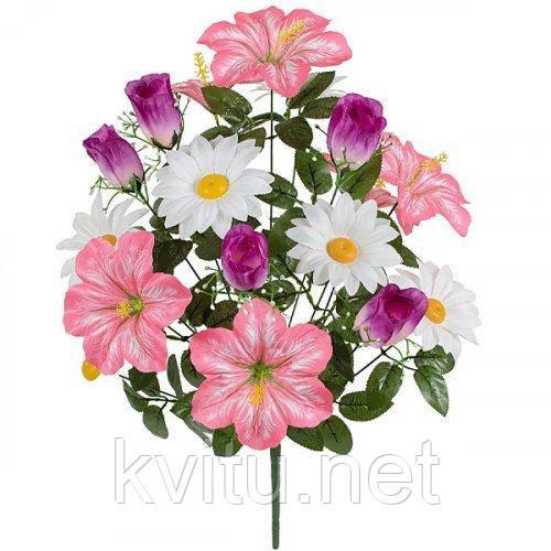 Искусственные цветы букет микс фиолетовый роза, ромашка, лилия, 62см