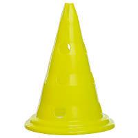Фишка спортивная конус тренировочный с отверстиями для штанги 30 см желтый