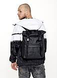 Рюкзак мужской черный роллтоп матовая эко-кожа (качественный кожзам) повседневный, офисный, для поездок, фото 10