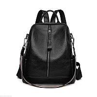 Женский кожаный рюкзак сумка чёрный Black