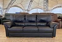 Кожаный черный трёхместный диван б/у из Германии без реставрации