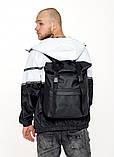 Рюкзак роллтоп черный мужской из экокожи (качественный кожзам) городской, деловой, офисный, фото 4