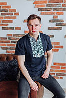 Футболка-вышиванка мужская (лакоста) L Ярило темносиняя/белая 102-L