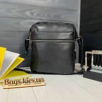 Мужская кожаная сумка через плечо мессенджер Tiding Bag вертикальная барсетка черная