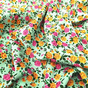 Ткань штапель мятный с цветами