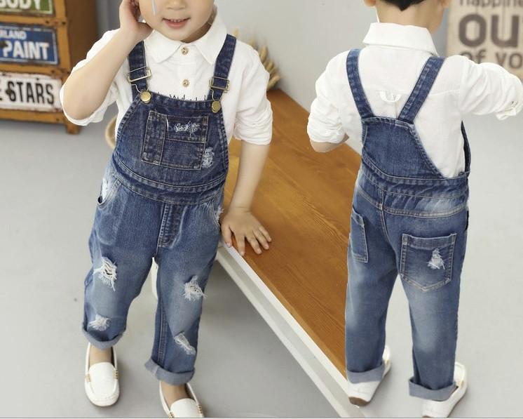 Комбинезон детский джинсовый унисекс синий 1-5 лет  весна-осень