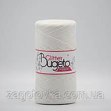 Бавовняний плоский шнур Ribbon Glitter з люрексом, Білий c перламутром