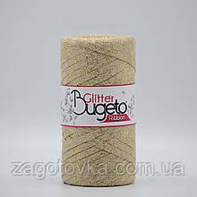 Бавовняний плоский шнур Ribbon Glitter з люрексом, Беж з золотом