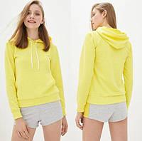 Женская желтая толстовка Худи с капюшоном из двунитки, Батник однотонный весна-осень