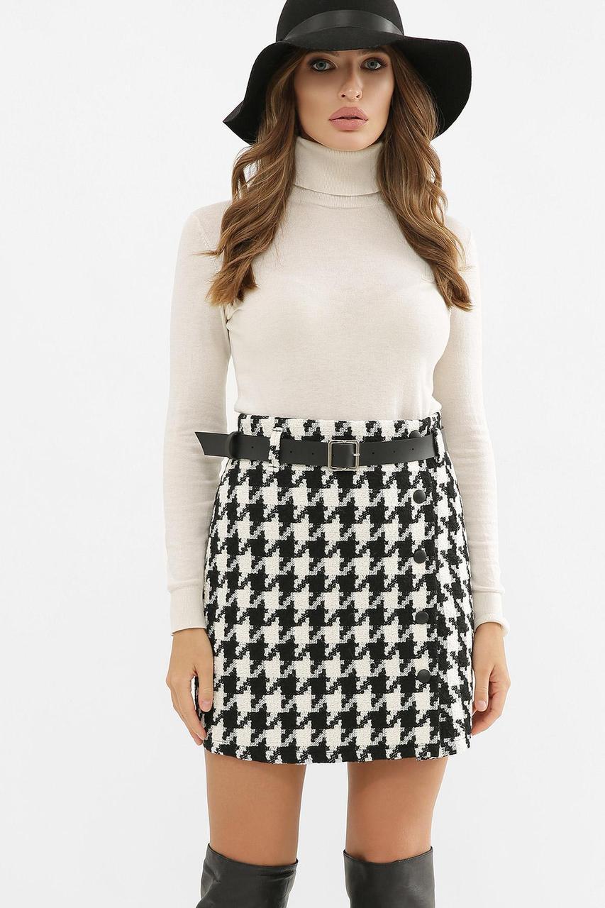 Спідниця міні в гусячу лапку чорно біла мод. №47