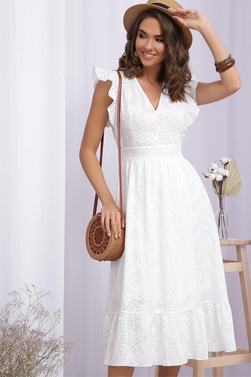 Платье летнее белое из батиста прошвы Дария б/р