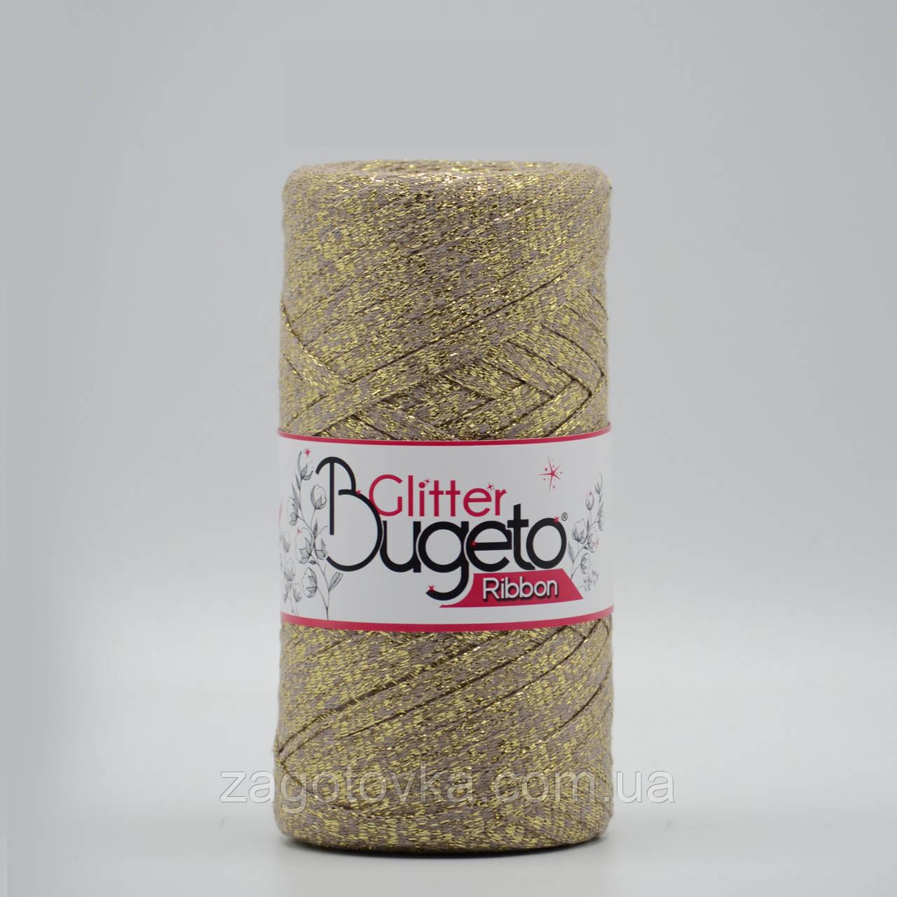 Бавовняний плоский шнур Ribbon Glitter з люрексом, Капучіно з золотом