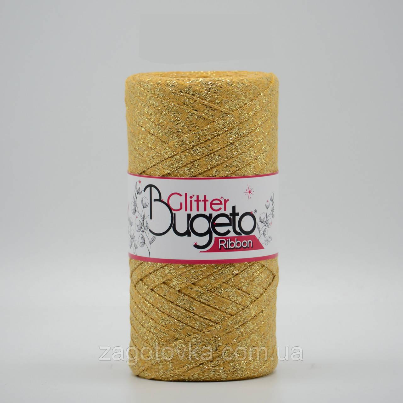 Хлопковый плоский шнур Ribbon Glitter с люрексом,  Золотистый с золотом