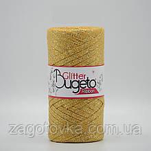 Бавовняний плоский шнур Ribbon Glitter з люрексом, Золотистий з золотом