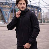 Демисезонная мужская куртка Soft Shell, для активного отдыха Softshell, Ветровка плащевка весна-осень, Черная