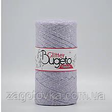 Бавовняний плоский шнур Ribbon Glitter з люрексом, Бузковий з сріблом