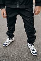 Штаны на манжетах карго для мальчиков с карманами из Soft Shell черные, весна осень