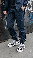 Штаны карго для падростков на манжетах с накладными карманами из Soft Shell синие, весна осень
