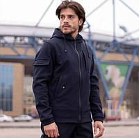Демисезонная мужская куртка Soft Shell, для активного отдыха Softshell, Ветровка плащевка весна-осень, синяя