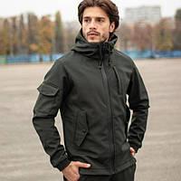 Демисезонная мужская куртка Soft Shell, для активного отдыха Softshell, Ветровка плащевка весна-осень, Хаки