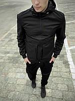 Весенняя ветровка мужская с капюшоном, спортивная легкая куртка из плащевки черная