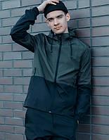 Весенне осенняя куртка мужская из Soft Shell, стильная качественная спортивная ветровка с капюшоном, хаки
