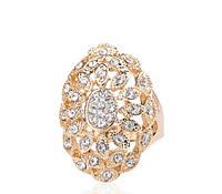 Кольцо с цирконами, покрытое золотом р 17,18 код 854