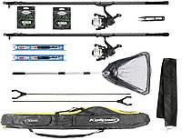 Универсальный набор для начинающей рыбалки, 2 поплавочных удочки 4 м для ловли карпа с подсаком