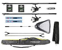 Набор для летней рыбалки, 2 поплавочных удочки 5 м для ловли карпа и карася с подсаком
