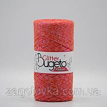 Бавовняний плоский шнур Ribbon Glitter з люрексом, Яскраво рожевий з пераламутром