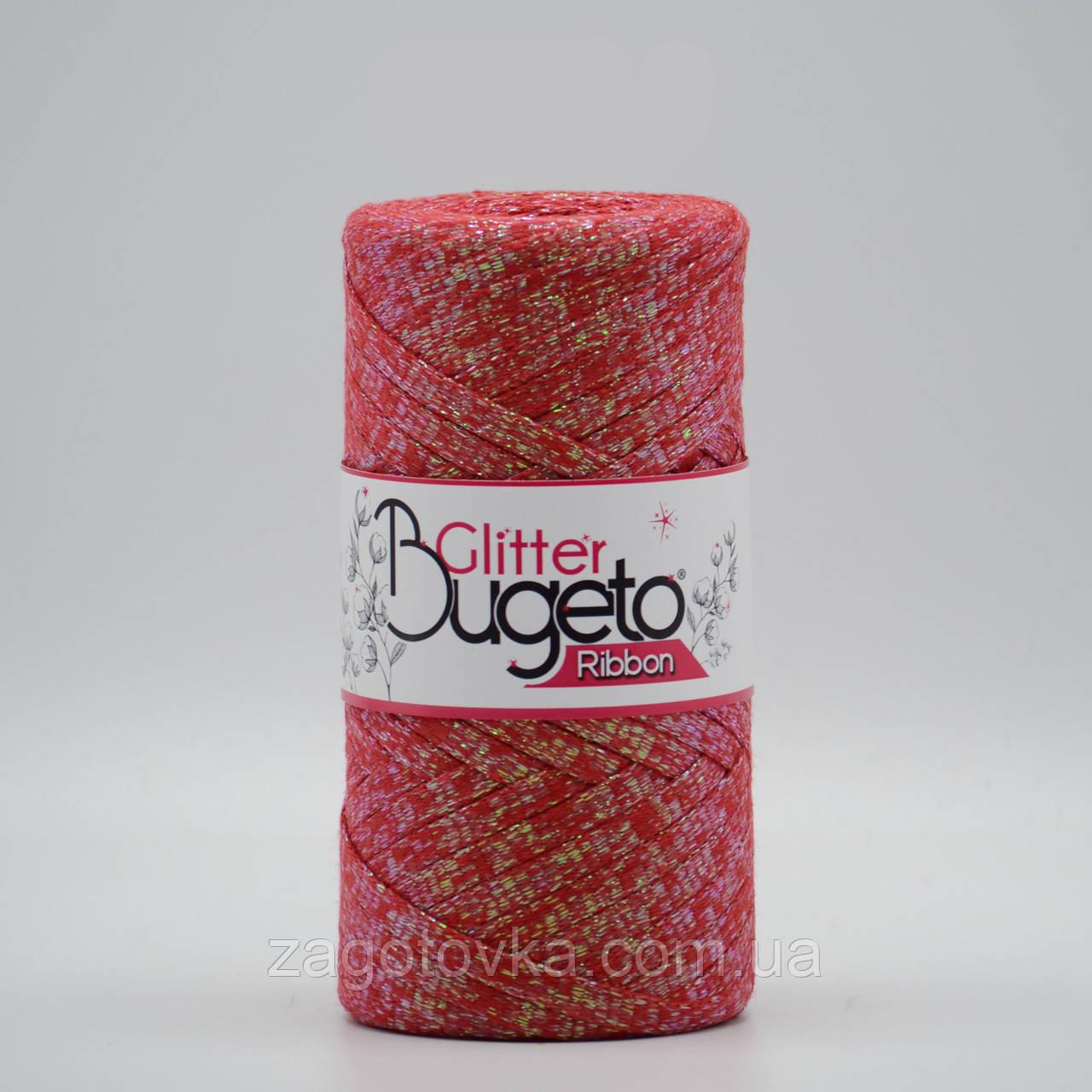 Бавовняний плоский шнур Ribbon Glitter з люрексом, Червоний з пераламутром