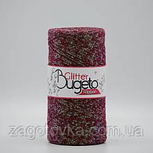 Бавовняний плоский шнур Ribbon Glitter з люрексом, Болгарська троянда з перламутром