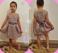 Нарядное красивое детское розовое платье с пояском. Арт-1515