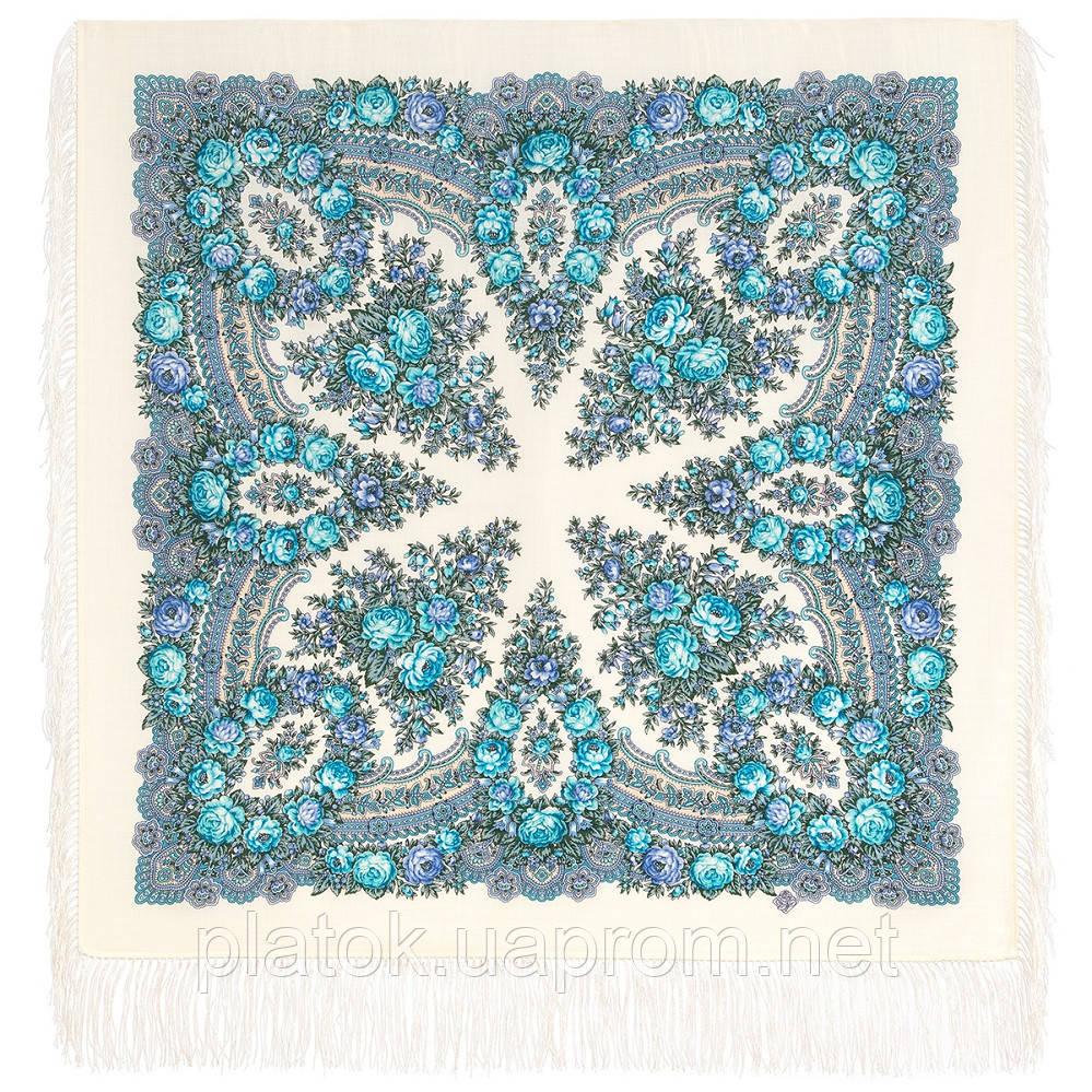 Утренние грезы 1960-4, павлопосадский платок шерстяной с шелковой бахромой