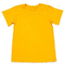 Футболка детская однотонная желтая, 1-16 лет