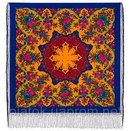 Лирика 1129-13, павлопосадский платок (шаль) из уплотненной шерсти с шелковой вязаной бахромой