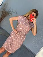 Линда, летнее красивое женское платье в горох пудра, размеры от 44 до 54