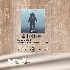 """Музыкальный постер Трекпластинка """"Masked Wolf — Astronaut In The Ocean"""" с черной надписью"""