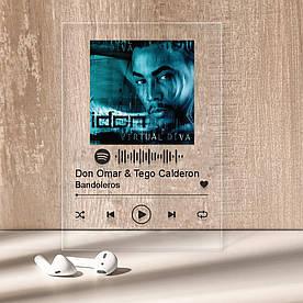 """Музыкальный постер Трекпластинка """"Don Omar & Tego Calderon — Bandoleros"""" с черной надписью"""