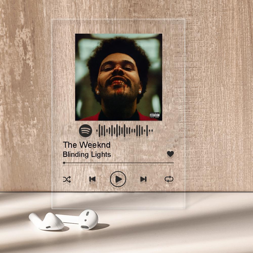 """Музыкальный постер Трекпластинка """"The Weeknd — Blinding Lights"""" с черной надписью"""