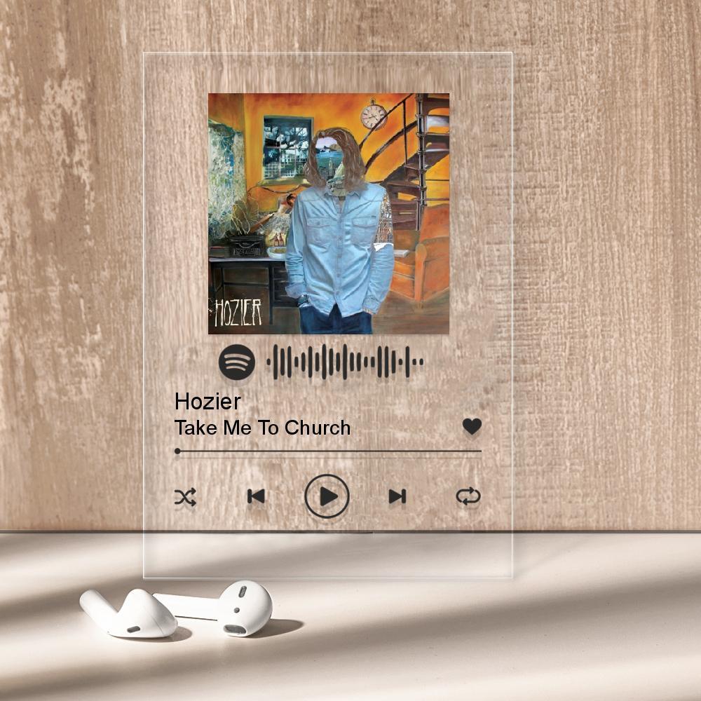 "Музичний постер Трекпластинка ""Hozier — Take Me To Church"" з чорним написом"