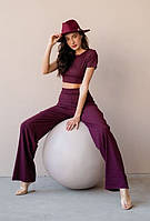 Трикотажный костюм топ + брюки палаццо на высокой талии трикотаж рубчик бордо S M L XL (42 44 46 48)