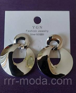Круглые массивные серьги серебро, брендовая бижутерия оптом. 195