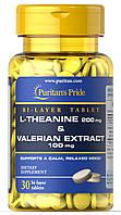 Вітаміни і мінерали Puritans Pride L-Theanine 200 мг & Valerian Extract 100 мг 30 капс Оригінал! (342240)