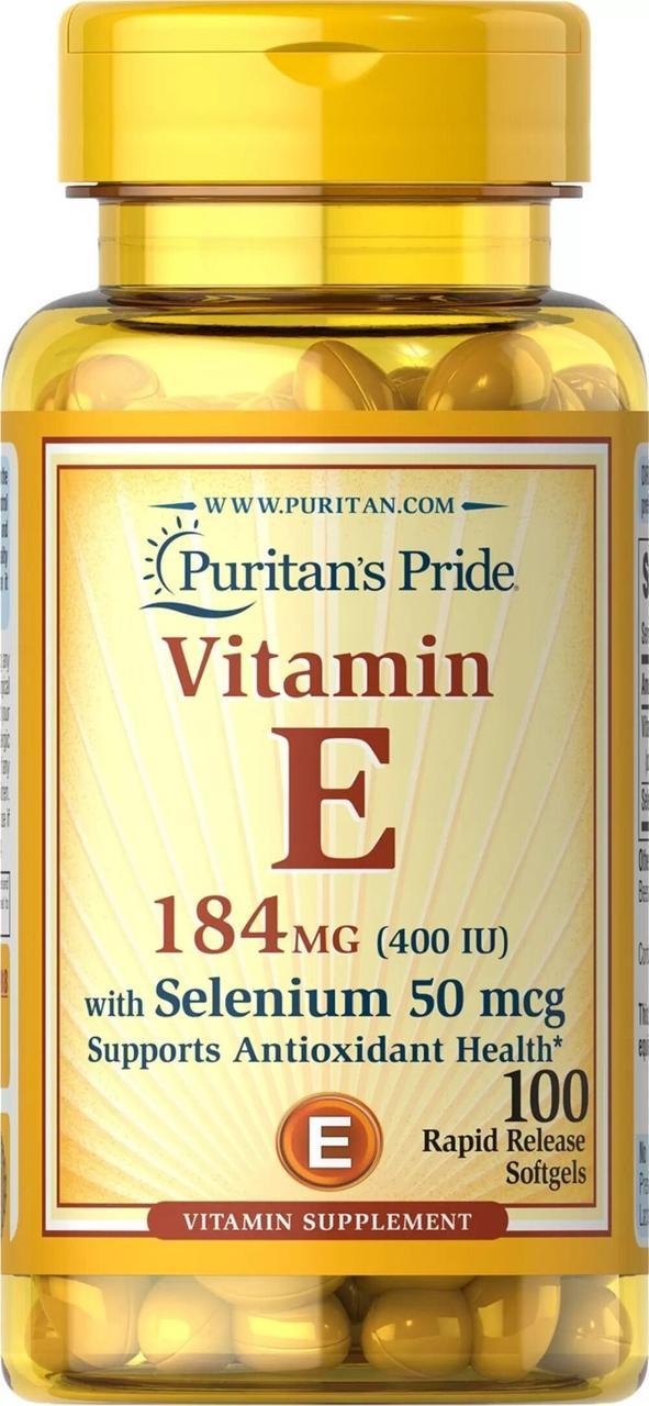Витамины и минералы Puritans Pride Vitamin E-400 IU with Selenium 50 мкг 100 гель.капс Оригинал! (342273)