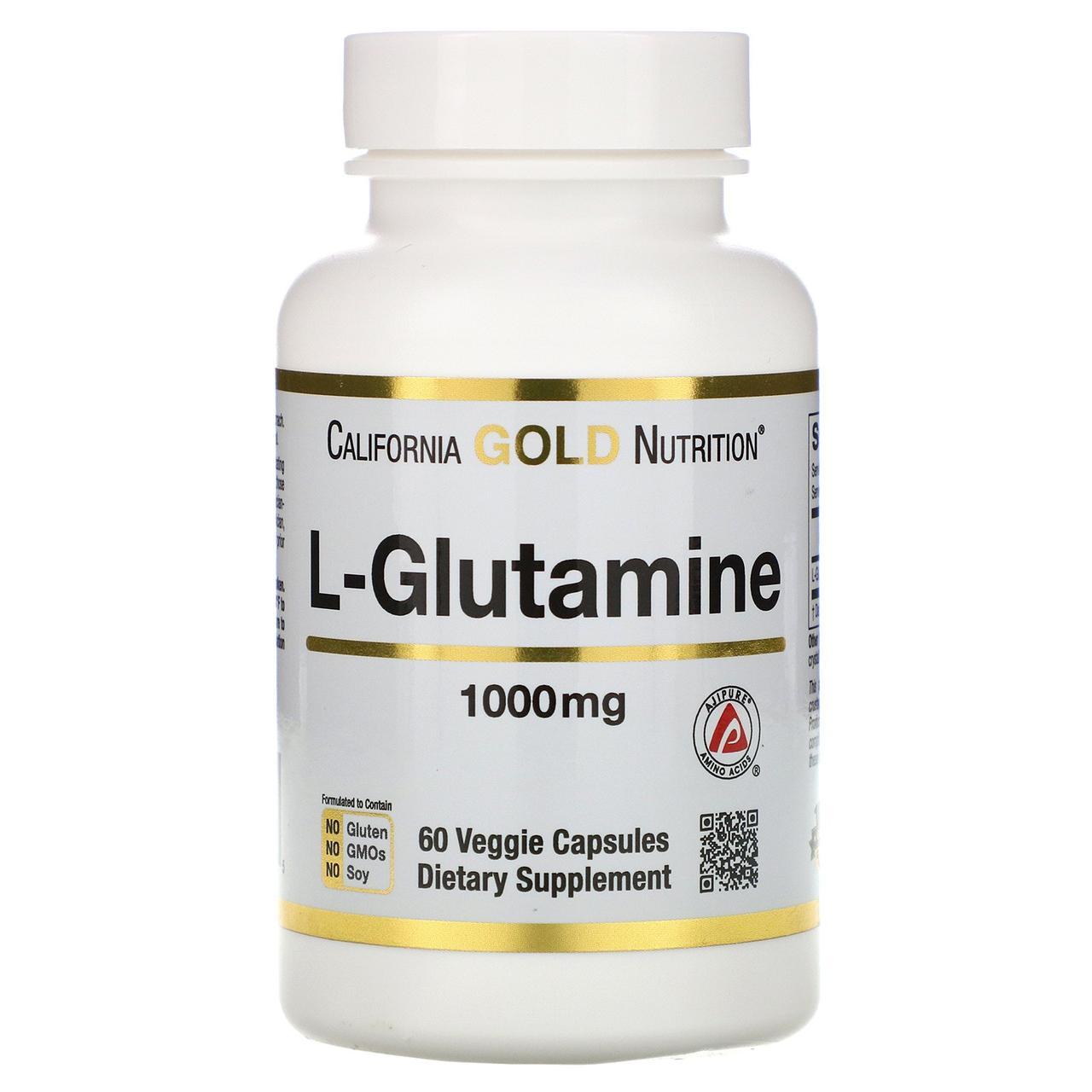 Глютамин California Gold Nutrition SPORT L-Glutamine 1000 мг 60 капс Оригинал! (341853)